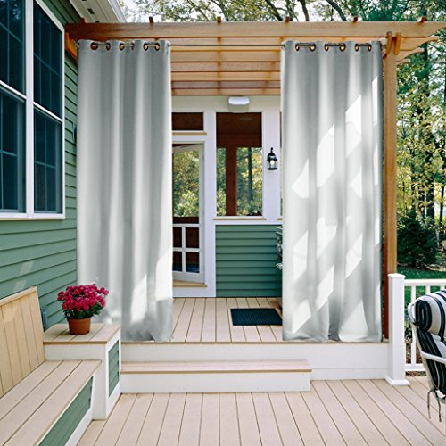 - NICETOWN Outdoor Drapes for Patio - Windproof Blind Grommet Room Darkening Water Resistant Durable Curtains for Front Porch & Canvas(1 Panel, 52 Inch by 84 Inch)