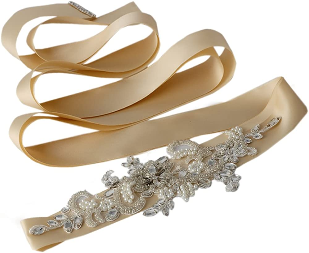 Azaleas Womens Crystal Bridal Belt Sashes Wedding Dresses Sash Belts With Ribbon