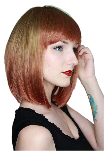 Prettyland Tie-Dye lisa Peluca corta teñida Batik Gradient Bob-cut Blonde Marrón Roja