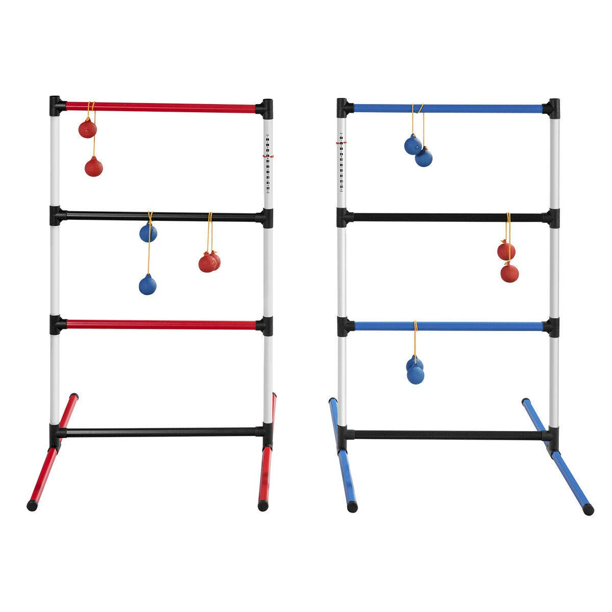 FDInspiration PVC Portable Family Sport Ladder Ball Toss Game w/Bag & 12 Balls with Ebook