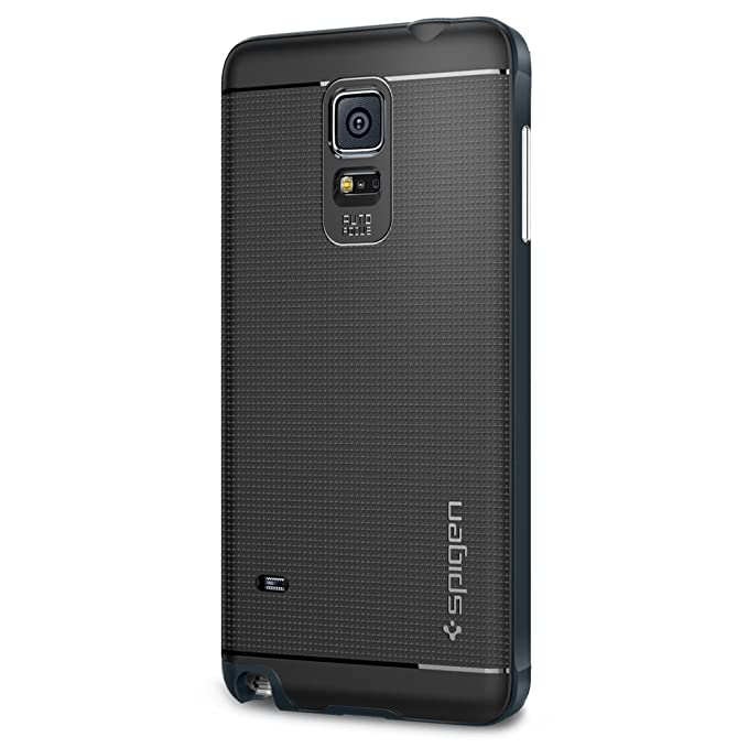 sale retailer ad0b2 d2606 Spigen Neo Hybrid Galaxy Note 4 Case with Flexible Inner Protection and  Reinforced Hard Bumper Frame for Samsung Galaxy Note 4 2014 - Metal Slate