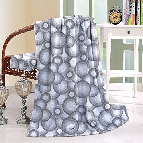 HAIXIA Blanket Various Sized Balls Spiral Circular Formed Round Figures Retro Grey White