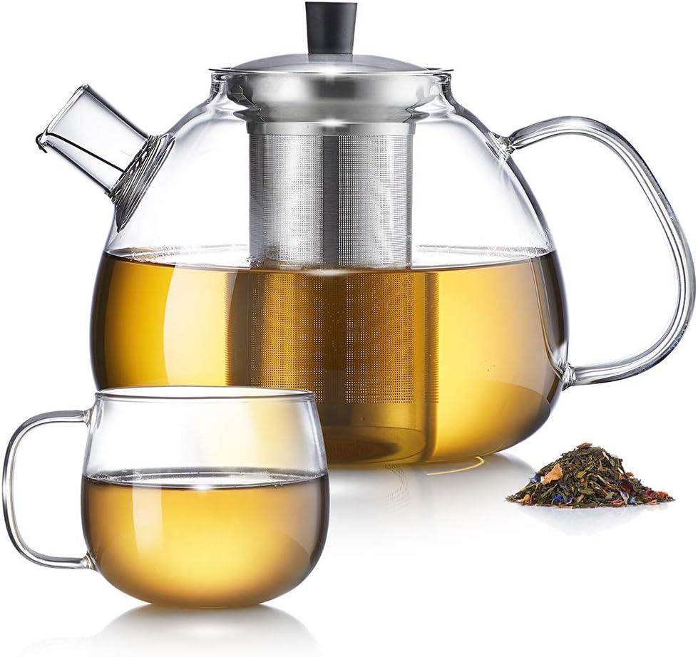 Zoe&Mii - Tetera con colador, tetera con taza, tetera de cristal de 1,5 litros, tetera con taza, jarra de cristal para té suelto y bolsa de té: Amazon.es: Hogar