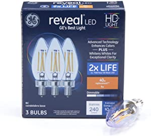 GE Reveal 40-Watt EQ B10 Color-Enhancing 42544 Dimmable Decorative Light Bulb (3-Pack) Candelabra Base (E12)