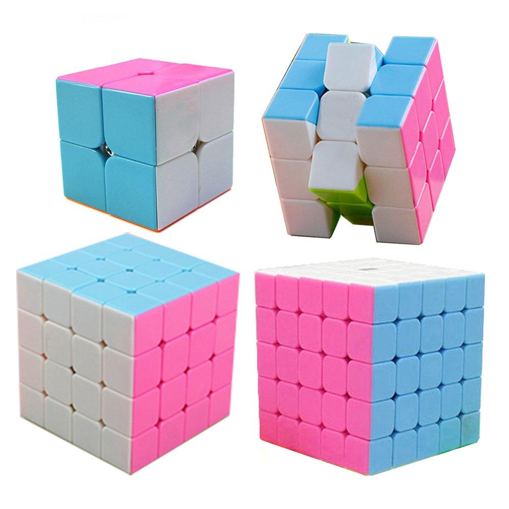 HJXD global Magic Cube Set 4 Pack 2x2x2 3x3x3 4x4x4 5x5x5 Stickerless Speed Cube Pink WJ-CUBE-SP004