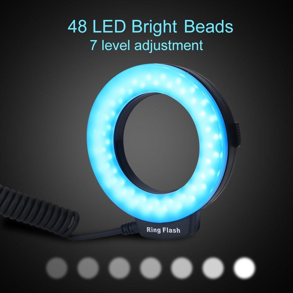 LED Macro Photography Flashing Lights Including 4 Flash Diffusers LED Ring Flash Set 1 Flash Controller Macro Flash for 40.5-70mm Lenses Macro Flash Light 48 LEDs 8 Adapter Rings