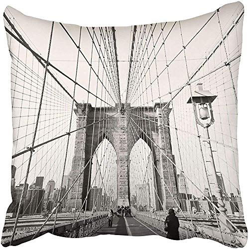 Starosa Throw Pillow Covers Cases Decorative 20x20 inch City Vintage of Brooklyn Bridge in New York USA Old Skyline NYC Cityscape Tourist Two Sides Print Pillowcase Case Cushion Cover