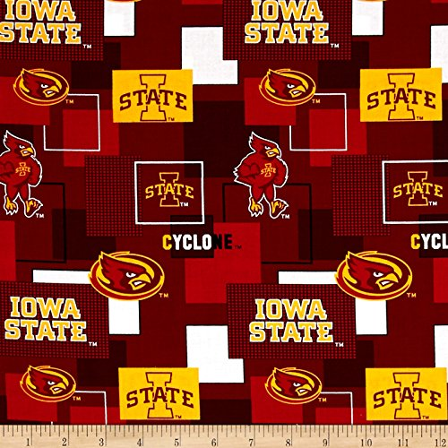 Sykel Enterprises Collegiate Cotton Broadcloth Iowa State University Block Print Red Fabric by The Yard,