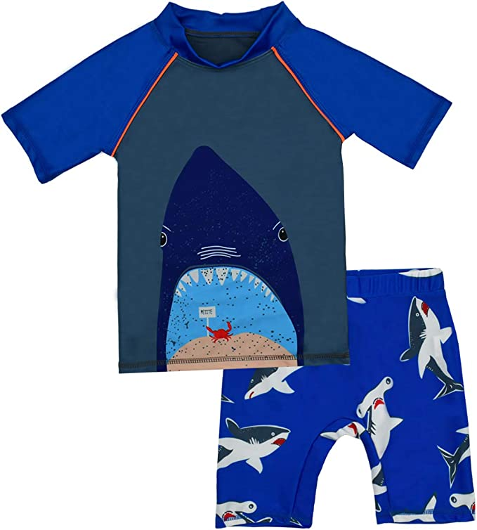 Boys Two Piece Rash Guard Swimsuits Kids Short Sleeve Sunsuit Swimwear Sets