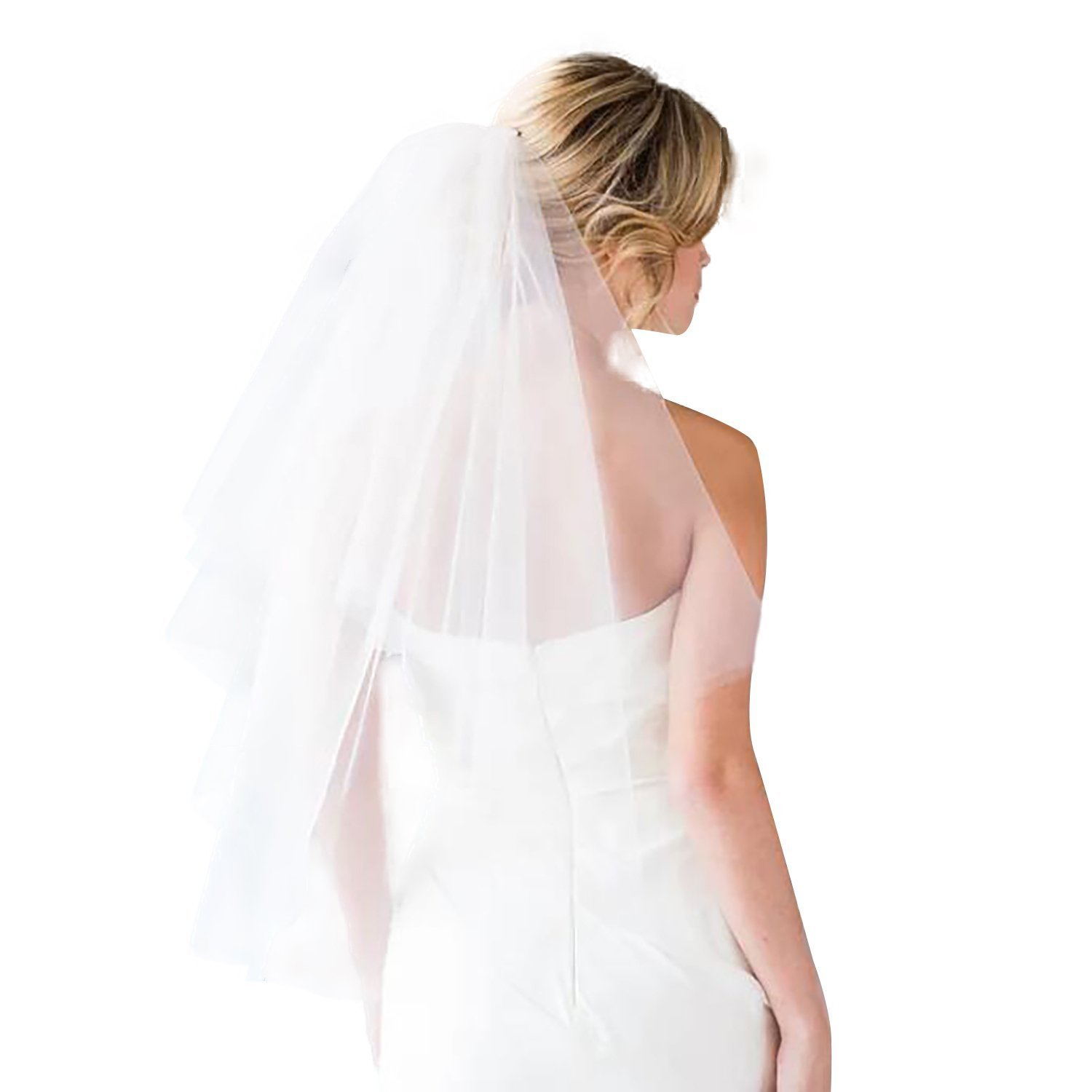 2 Tier Lace Bridal Wedding Veil with Comb White Short Cut Edge Elbow Length