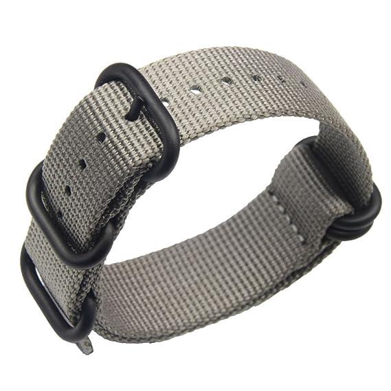 24mm gris de lujo de nylon duradero de la NATO reloj estilo correas bandas  militares reemplazos para los hombres  Amazon.es  Relojes d4c7a6739ee5
