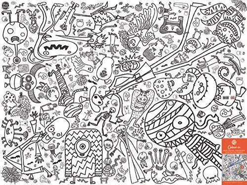 Halloween Coloring Papers (Eggnogg Colour-in Durable White Paper Poster Tablecloth 37-Inch by 50-Inch, Monsters and Ghosts, 1)