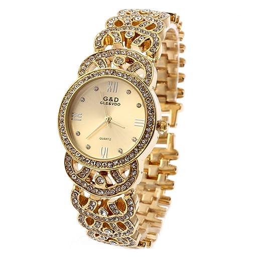 HWCOO Hermoso Relojes de Pulsera Reloj Pulsera Pulsera Reloj Oro y Diamantes Reloj Reloj Pareja Mesa (Color : 2): Amazon.es: Relojes