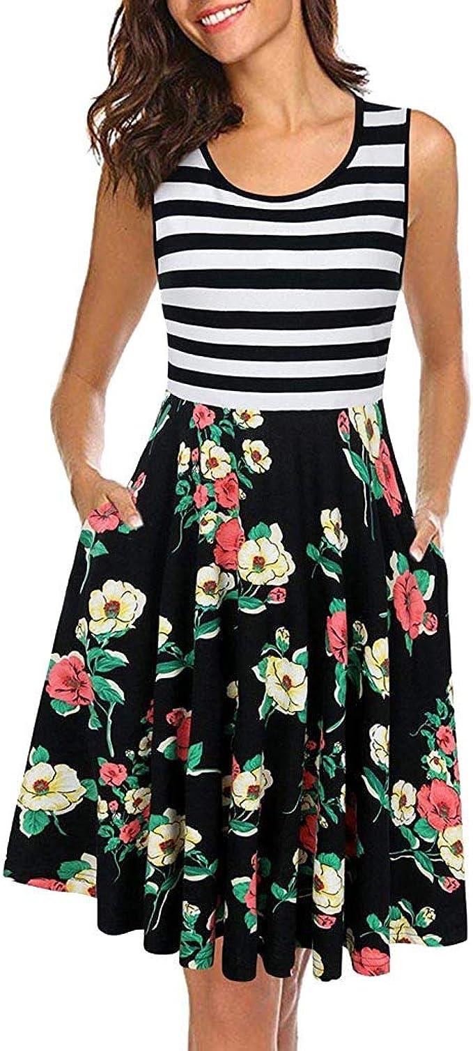 FRAUIT Damen Sommerkleid Kurze Ausgestellte Kleider Gestreiftes