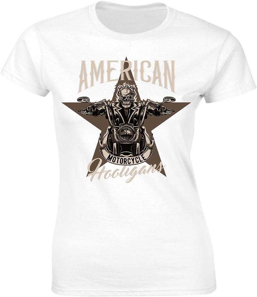 Camiseta para mujer con diseño de calavera en motocross, para moto o bicicleta Blanco S: Amazon.es: Ropa y accesorios