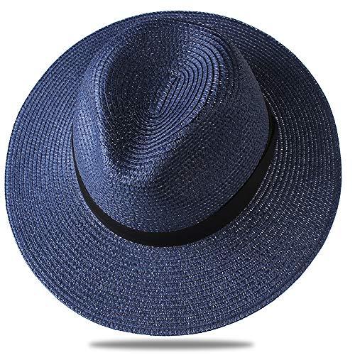 FURTALK Panama Hat Sun Hats for Women Men Wide Brim Fedora Straw Beach Hat UV UPF 50 Large Size (22.8'-23.6'), Navy Blue