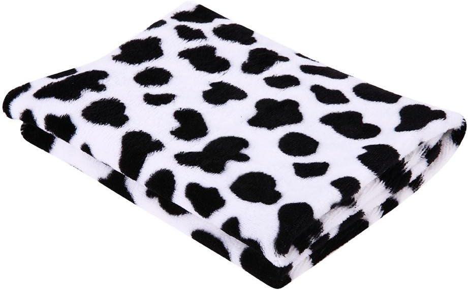 Pet Cat Dog Cute Coral Velvet Cow Print Blanket Rest Mats Seawang Dog Cat Pet Soft Blankets M