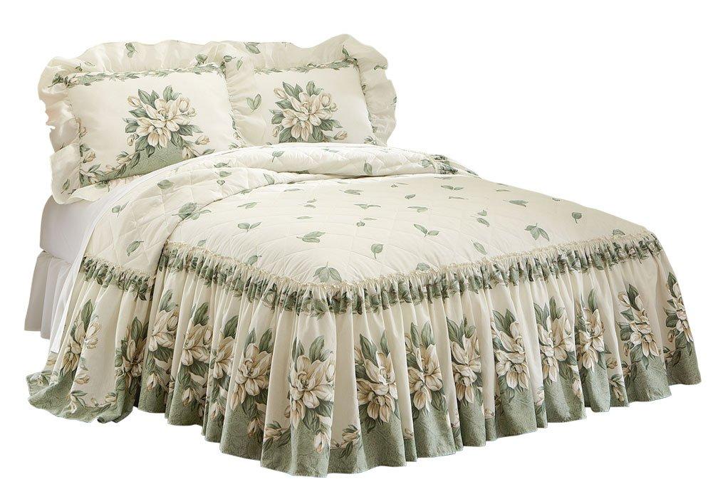Collections Etc Magnolia Garden Floral Ruffle Skirt Lightweight Bedspread, Sage, Queen