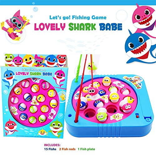 JX Fishing Game Toy Set with Single-Layer Rotating Board with On/Off Switch for Quiet Play Includes 15 Fish and 2…