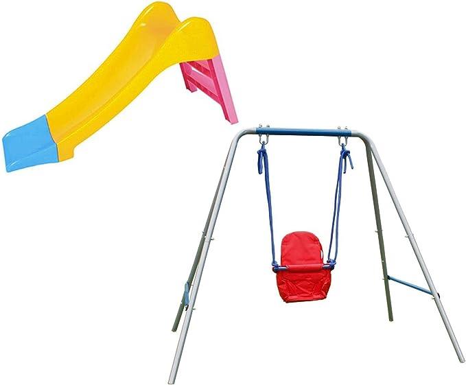 HLC Conjunto de Resbaladero de los niños para Jugar en jardín + Columpio Infantil Rojo, Mejor Regalo de Cumpleaños, del día de Los Reyes Magos--Gran Promoción: Amazon.es: Juguetes y juegos