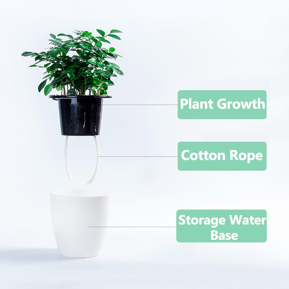 Mkono 3 Pack Self Watering Planter White Flower Pot, M by Mkono (Image #3)