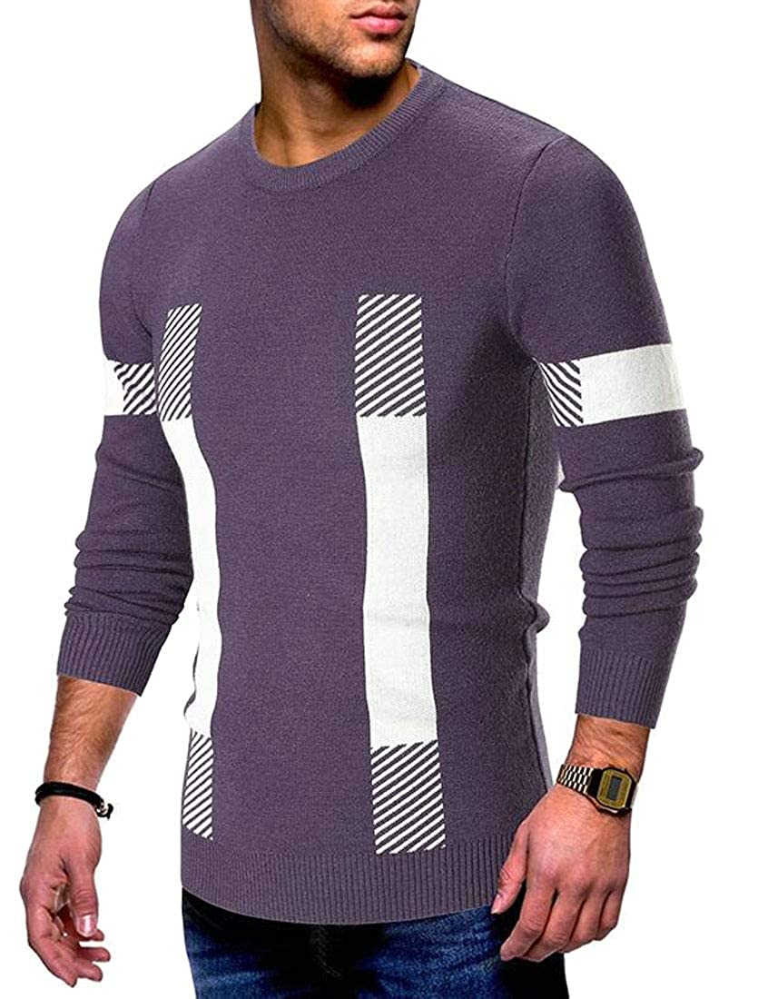 Generic Mens Slim Fit Round Neck Long Sleeve Casual Pullover Knitted Sweater