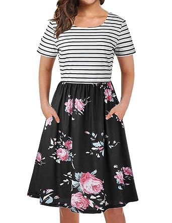 061505a07181 Amazon.com: Ezcosplay Women Short Sleeve Stripe Spliced Floral Print Party  Midi A line Dress: Clothing