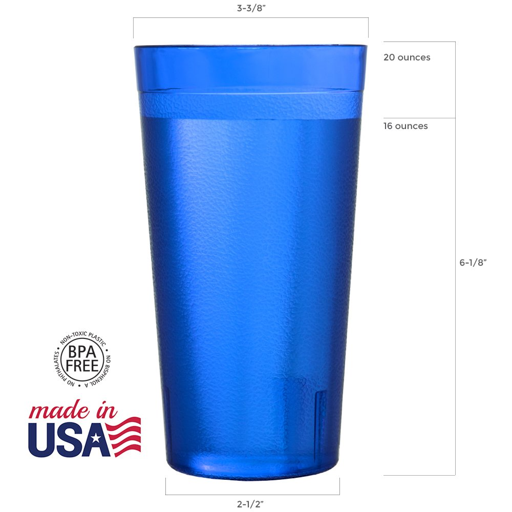 Cafe 20-ounce Break-Resistant Plastic Restaurant-Style Beverage Tumblers | Set of 16 in 4 Coastal Colors by US Acrylic (Image #3)
