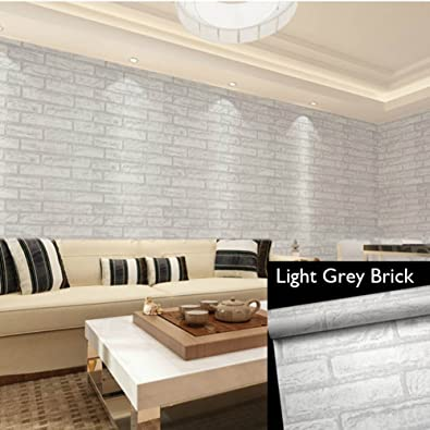 POPPAP Brick Wallpaper Self Adhesive Contact Removable 3D Print Faux Light Grey Color