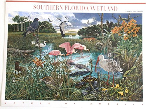 Southern Florida Wetland (Nature of America) Full Sheet of 10 x 39-Cent Postage Stamps, USA 2006, Scott (Halloween Postage Stamps)