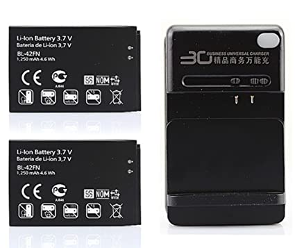 Amazon.com: Chariot Trading – 2 x 1250 mAh 42 FN batería + ...