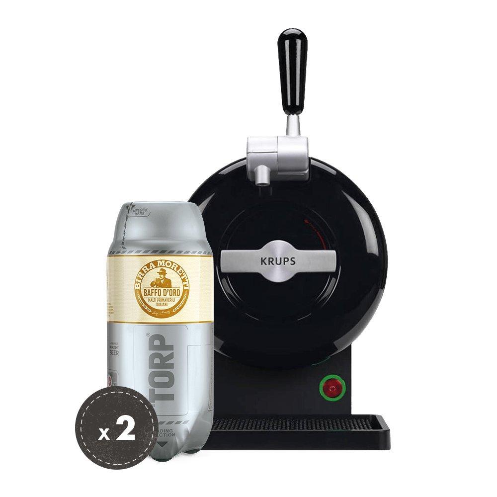 Birra Moretti THE SUB Set Spillatura Domestica | THE SUB Spillatore Birra da Casa, Edizione Black | 2 x TORP Birra Moretti Fustini di Birra da 2 Litri