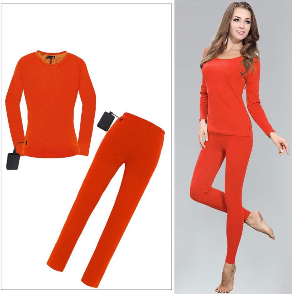 女性用電気加熱サーマルアンダーウェアセット、フリース裏地サーマル女性用ベースレイヤー、USB充電/洗濯機洗い可能/ 3温度設定 オレンジ XXXL