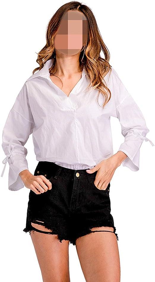 OULII Camisa de Blusa Blanca Para Mujer de Manga Larga Tops Casual de Cuello EN V XXL (Blanco): Amazon.es: Ropa y accesorios