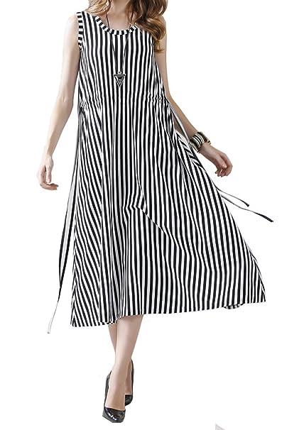 5a208845ac77b Women Round O Neck Drawstring High Waist Vertical Stripes Midi Dress Black  White