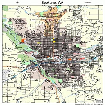 Amazoncom Large Street Road Map of Spokane Washington WA