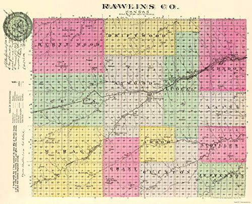 MAPS OF THE PAST Rawlins Kansas - Everts 1887-23 x 28.47 - Glossy Satin Paper