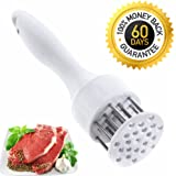 MYSASTAR Smart Meat Tenderizer Free Lovely Ebook Premium Meat Pounder Tool Best for BBQ & Marinating Dishwasher Safe Ultra Sharp Stainless Steel Blades ( White )