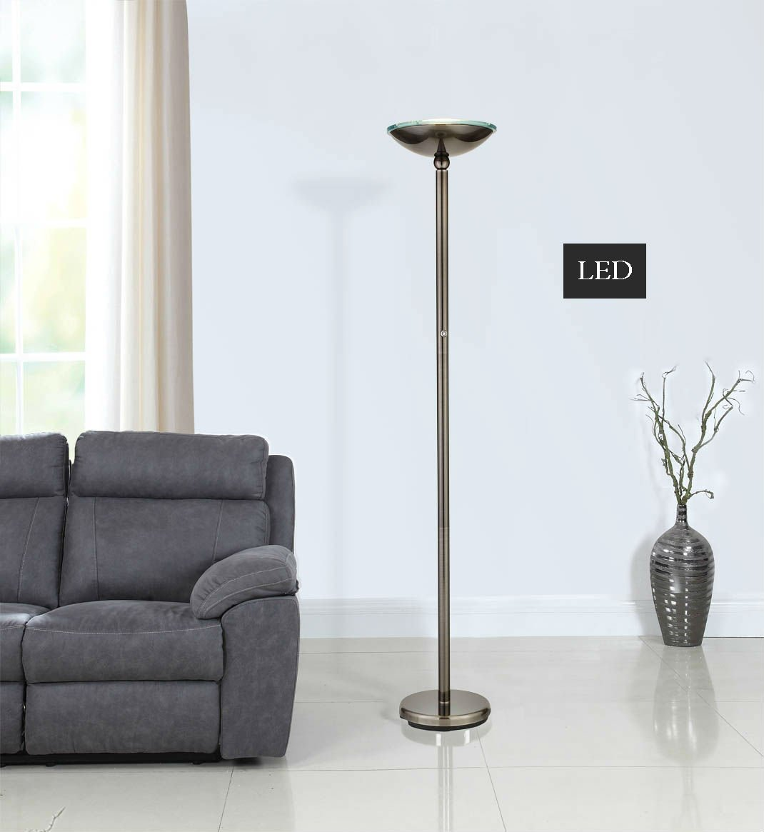 Artiva USA LED9485BSN LED Torchiere Floor Lamp with Touch Dimmer, 71'', Saturn Black Brushed Steel