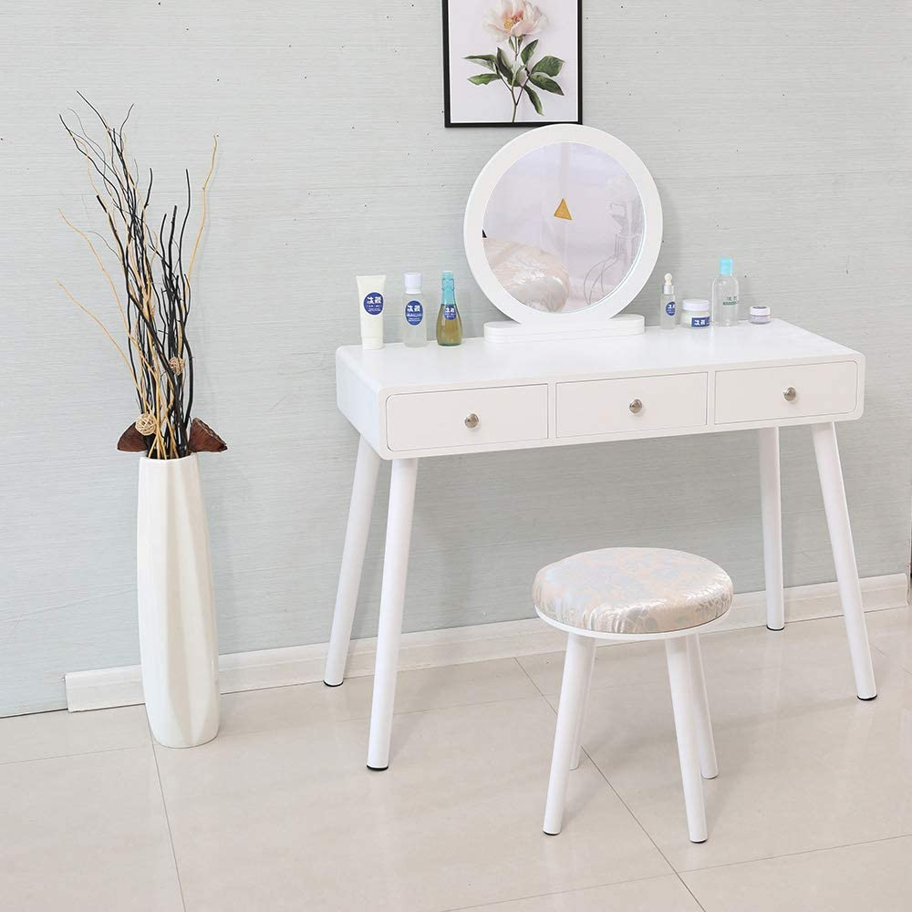 YIFAA Dressing Table Set with Detachable Mirror 3-Drawers Make-up Stool for Bedroom White, 100x40x125cm Corridor Library