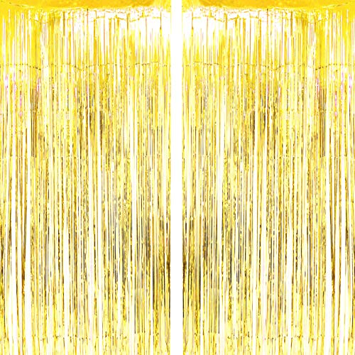 Gold Wedding Party Foil Fringe Curtains Tinsel Foil Fringe Curtains Photo Backdrop Baby Shower Birthday Bachelorette Casino New Year Eve Party Decor Photo Booth Props Backdrops Decorations