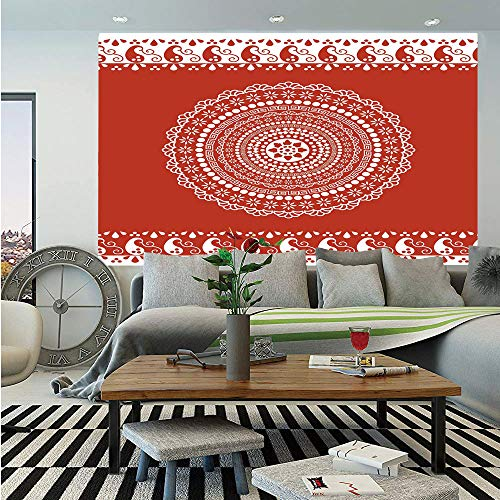 SoSung Red Mandala Wall Mural,Traditional Ethnic Asian Paisley Design with Side Frame Borders Image Decorative,Self-Adhesive Large Wallpaper for Home Decor 55x78 inches,Burgundy and White