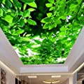 Amazhen Silk Mural Custom Ceiling Mural Wall Paper Natural Green Leaves Photo Wallpaper Wall Mural Setting Room Ceiling Wall Decor Room Landscape