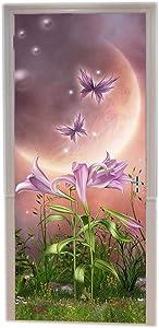 A.Monamour Magic Planet Lily Flower Fairy Butterfly Enchanted Fairytale Garden Scene Print Eco-Friendly Vinyl Room Door Decals Wallpaper Wall Murals Removable Door Stickers Posters DIY Art Decors