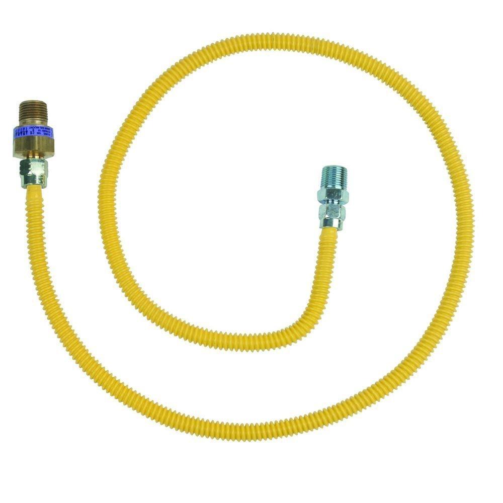 BrassCraft Mfg CSSL114E-48 X Safety+PLUS 3/8'' Female Flare Excess Flow Valve x 1/2'' MIP x 48'' Gas Connector 3/8'' O.D. (28,300 BTU)