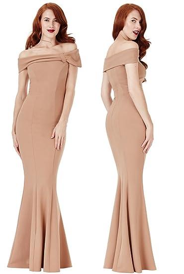 6ae497994b99 Goddiva Beige Bardot Bow Shoulder Fishtail Maxi Evening Dress Prom  Bridesmaid RRP £47: Amazon.co.uk: Clothing