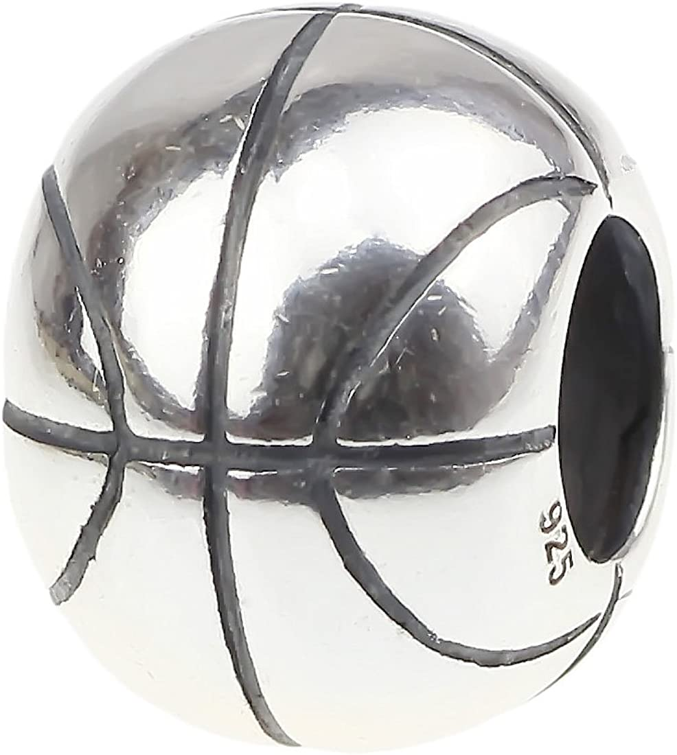 925 Sterling Silver Basketball Charm Bead