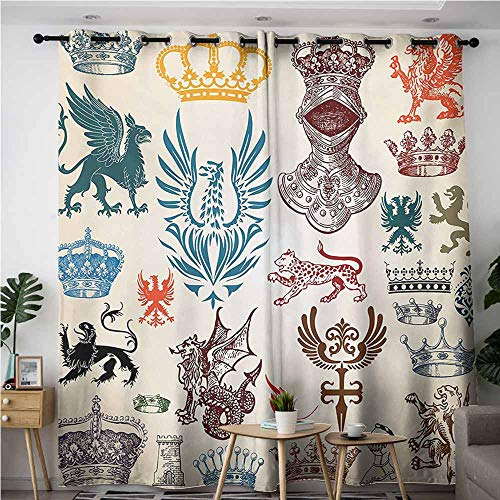 (VIVIDX Curtains for Bedroom,Medieval Collection of Medieval Renaissance Icons Retro Style Baroque Classical Art Print,Great for Living Rooms & Bedrooms,W72x96L,Multicolor)
