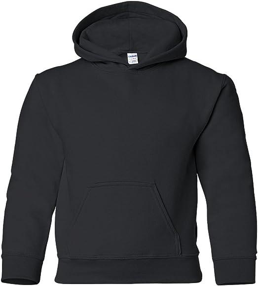 Gildan Black Hoodie Heavy Blend Basic Hooded Sweater Boy Girl Youth Kids