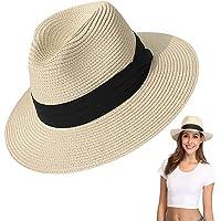 Amycute Sombrero de Paja Verano, Plegable Sombrero de Playa Transpirable para el Sol Mujeres Visera Sombrero para Ocio…